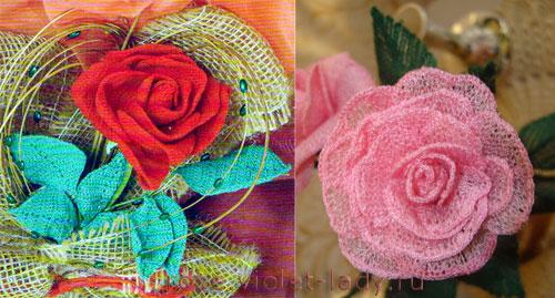 Игрушки для елки – вязаные розы