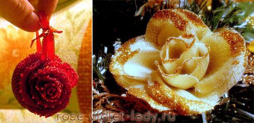 Розы из бисера и нарядной ткани